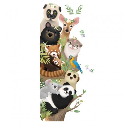 Cartoon Cute Animals Forest Tree Kindergarten Background Wall Art Decoration Removable Self-Adhesive Sticker
