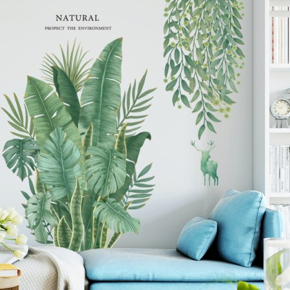 Tropical Natural Green Leaves Themed Background Wall Art Decoration Removable Self-Adhesive Sticker