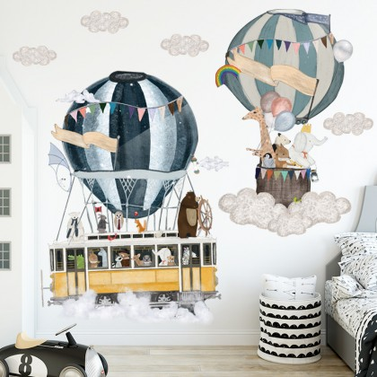 Hot Air Balloon Cartoon Animals World Party Kindergarten Background Wall Art Decoration Removable Self-Adhesive Sticker