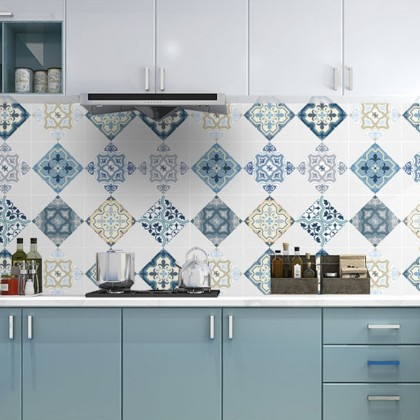 (Tiles) European Style Moroccan Grey Background Kitchen Tiles Furniture Refurbished Waterproof Aluminium Sticker