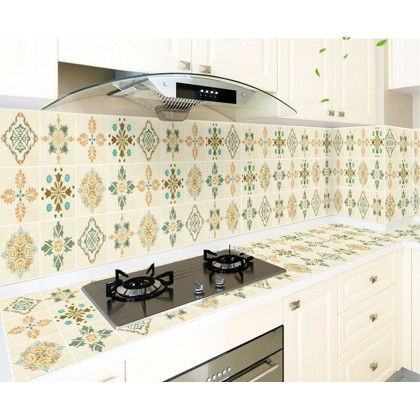 (Tiles) European Style Moroccan Green Background Kitchen Tiles Furniture Refurbished Waterproof Aluminium Sticker