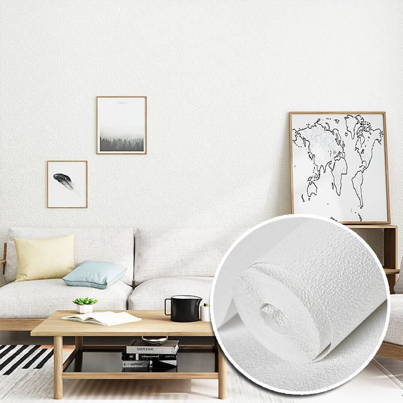 3d Nordic Plain White Background Wallpaper Solid Color Simple Living Room Bedroom Non Woven Wallpaper