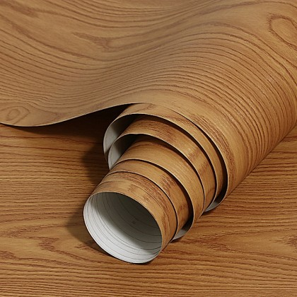 (Wood) Brown Wood Texture Furniture Refurbished Contact Paper PVC Self-Adhesive Waterproof Wallpaper Sticker