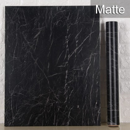 (Marble) Matte Black Marble Design Background Contact Paper Furniture Refurbished Self-Adhesive PVC Waterproof Wallpaper Sticker Covering