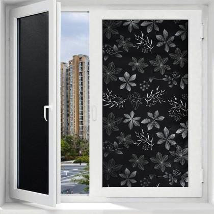 Black Flower Pattern Background Opaque Window Privacy Tinted Glass Window Film Sticker