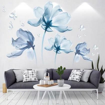 romantic flowers background wall art decoration pvc self-adhesive sticker