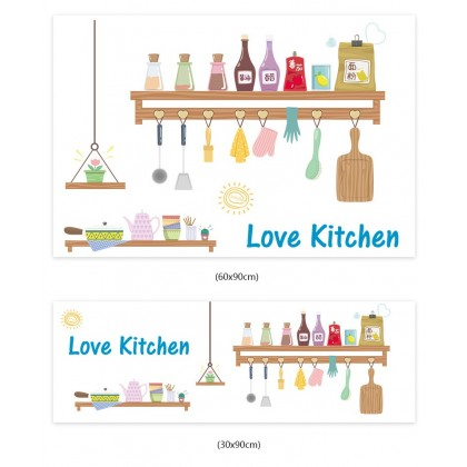 (Tiles Sticker) love kitchen utensils tiles background wall art decoration pvc self-adhesive sticker