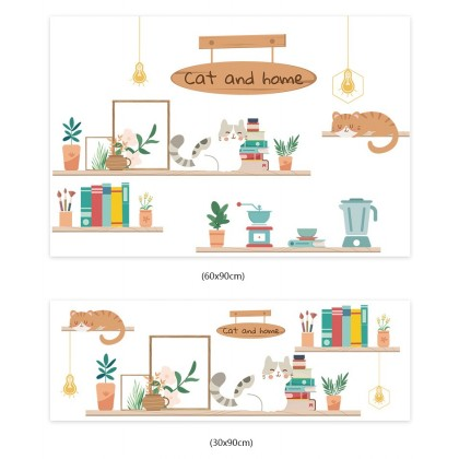 (Tiles Sticker) cat and home design kitchen tiles background wall art decoration pvc self-adhesive sticker