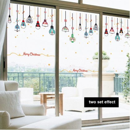 Merry Christmas Hanging Light Bulb Background Glass Window Decoration Sticker (For Glass Window Only)