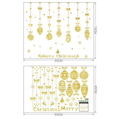 Merry Christmas Hanging Crystal Ball Snowflake Tree Gold Color Background Glass Window Decoration Sticker (For Glass Window Only)
