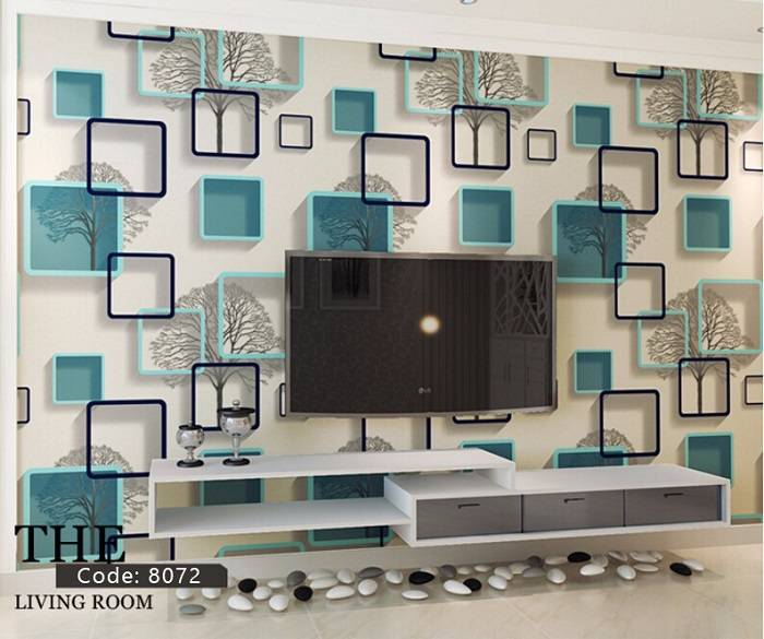 3D Blue Abstract Square Frame Non-Adhesive Wallpaper Home