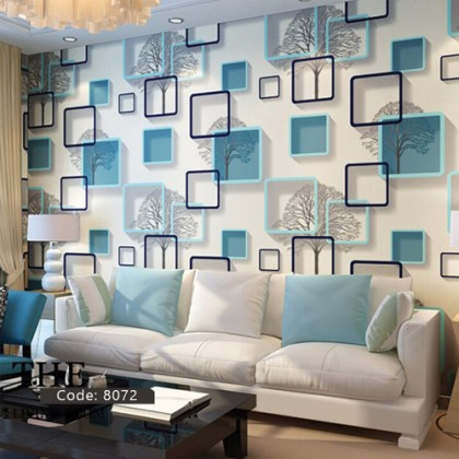 3D Blue Abstract Square Frame Non-Adhesive Wallpaper Home Decoration