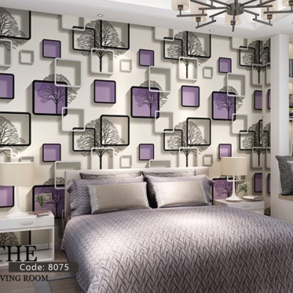 3D Purple Abstract Square Frame Non-Adhesive Wallpaper Home Decoration