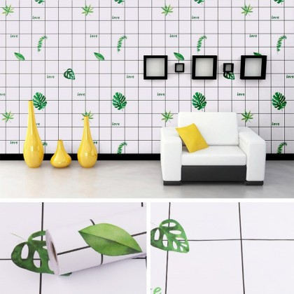 Green Tropical Leaves Background Furniture Refurbished Contact Paper PVC Self-Adhesive Waterproof Wallpaper Sticker