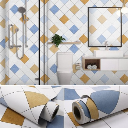 (Grid) Colorful Grid Square Pattern Furniture Refurbished Contact Paper PVC Self-Adhesive Waterproof Wallpaper Sticker