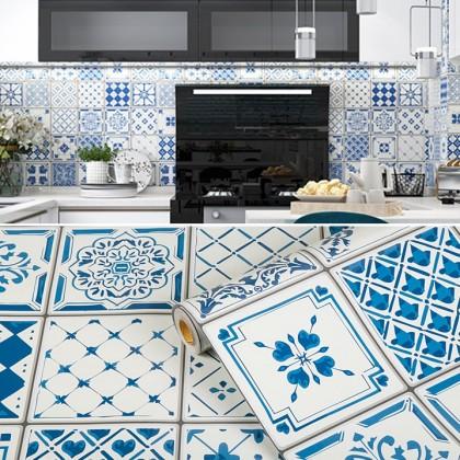 (Tiles) Blue Moroccan Pattern Design Background Kitchen Tiles Furniture Refurbished Renovation Waterproof Self-Adhesive Wallpaper Sticker