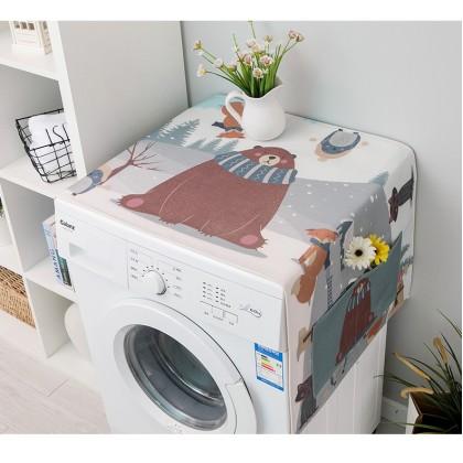 Cartoon Animals Background Washer Cover Cloth Waterproof Sunscreen Dustproof Cover Refrigerator Cotton Linen (45 X 140cm)