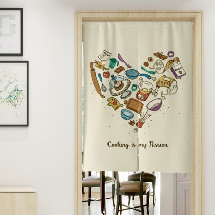 Cooking Background Coffee Shop Cafe Restaurant Bakery Entrance Home Decoration Door Curtain (Size: 85cm X 150cm)