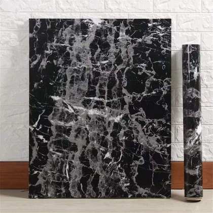 (Marble) Black Marble Pattern Background Furniture Refurbished Renovation Contact Paper PVC Self-Adhesive Waterproof Wallpaper Sticker