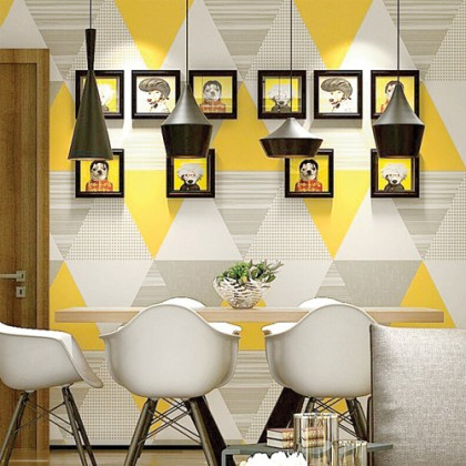 Yellow & Grey Triangle Shape Pattern Wallcovering Home Wallpaper