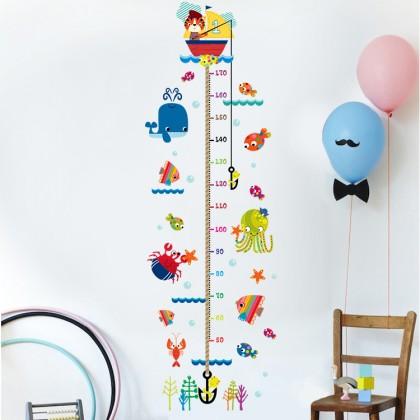 cartoon animals height measurement background wall art decoration removable sticker