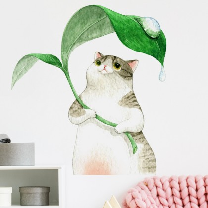 cute cat background wall art decoration removable sticker