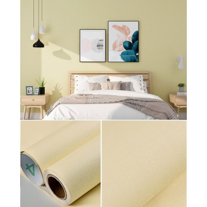 (Plain) Color Light Yellow Background Furniture Refurbished Contact Paper PVC Self-Adhesive Waterproof Wallpaper Sticker