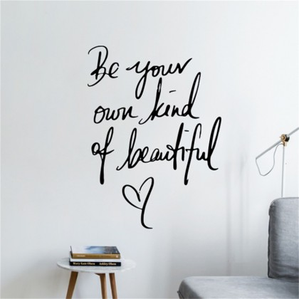 Be Your Own Kind Of Beautiful Inspirational Typography Quotes Lettering Home Decoration Wall Sticker
