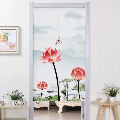 Chinese Style Lotus Flowers Background Feng Shui Home Decoration Door Curtain (Size: 85cm X 150cm)