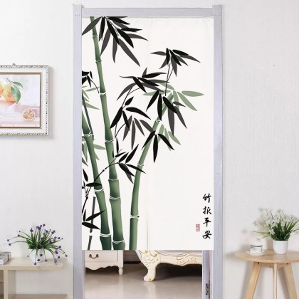 Chinese Style Bamboo Plants Background Feng Shui Home Decoration Door Curtain (Size: 85cm X 150cm)