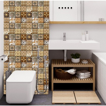 Retro 3D Bohemian Creative Wallpaper Sticker Self-adhesive Waterproof Restaurant Kitchen Bathroom Wall Decoration