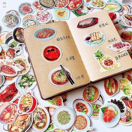 Hand Painted Style DIY Recipe Food Sticker Handmade Creative Design Menu Handbook Food Sticker