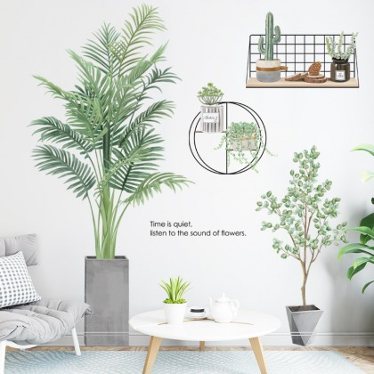 tropical natural green environment plants background wall art decoration removable sticker