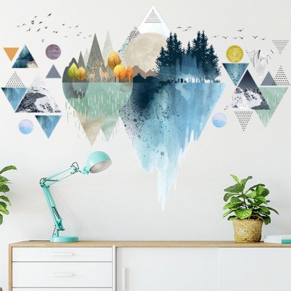 nordic style silhouette abstract forest tree animals background wall art decoration sticker