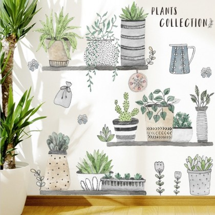 plants collection background potted plants wall art decoration removable sticker