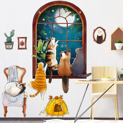cute cats animal fake window background wall art decoration removable sticker