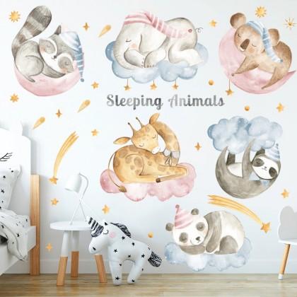 sleeping animals, cute animals background wall art decoration removable sticker