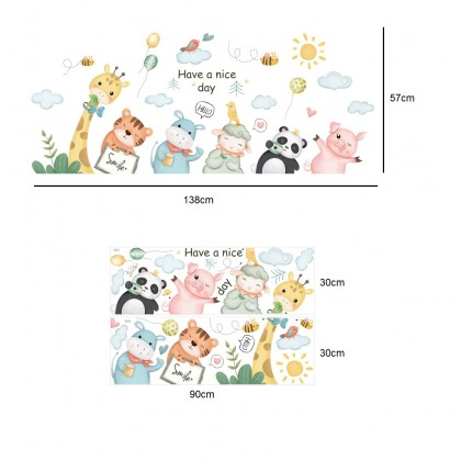 cartoon animals world kindergarten background wall art decoration removable sticker
