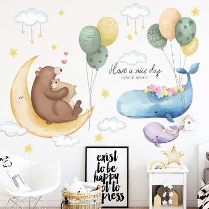 cartoon animals whale and bear hot air balloon background wall art decoration removable sticker