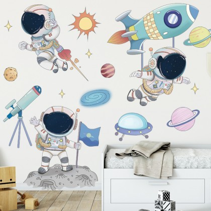 cartoon universe planets outer space astronaut background wall art decoration removable sticker
