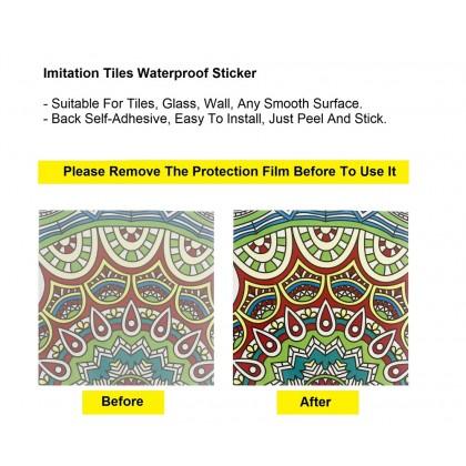 (Tiles) GREEN DESIGN EUROPEAN STYLE KITCHEN TILES MOROCCAN IMITATION CERAMIC WALL STICKER