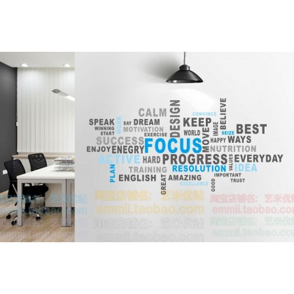 Office Inspirational Quotes Letter Wallsticker Focus Work hard Motivation Decal Sticker Home Bedroom Tuition Centre Office