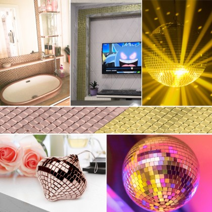 DIY Glass Mirror Mosaic Self-adhesive Wall Stickers Tape Home decoration Shining Patch