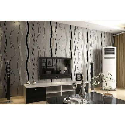 Silver Black Modern Streak Non-Adhesive Wallpaper for Bedroom and Living Room