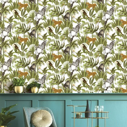 Pastel White Green Leaves Tropical Wallpaper Non Adhesive Home Wallpaper