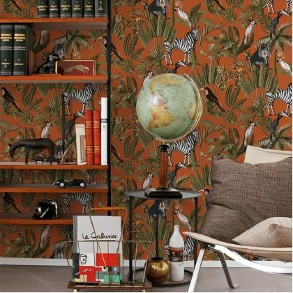 Pastel Dark Brown Orangy Tropical Wallpaper Non Adhesive Home Wallpaper