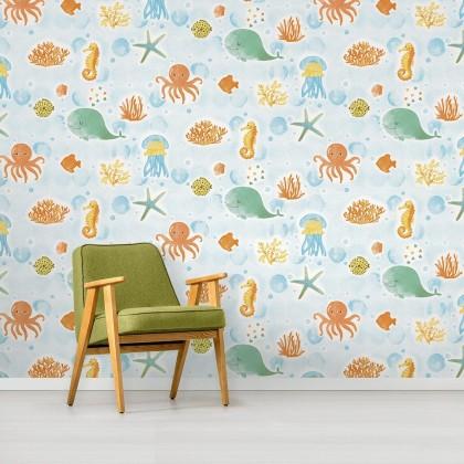 Cute Underwater Kids Wallpaper Non Adhesive Home Wallpaper