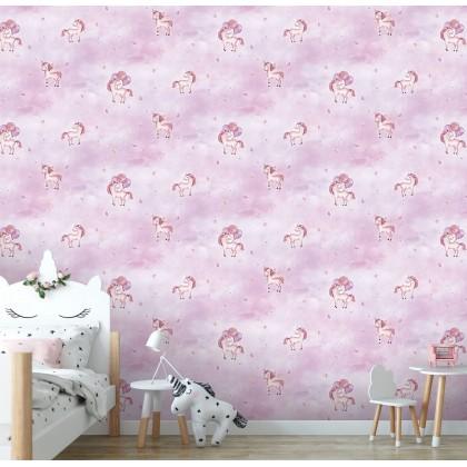 Pink Unicorn Kids Wallpaper Non Adhesive Home Wallpaper