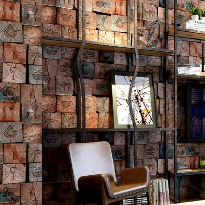 3D Nostalgia Textured Wood Design Wallpaper for Cafe, Restaurant and Shop Wallcovering
