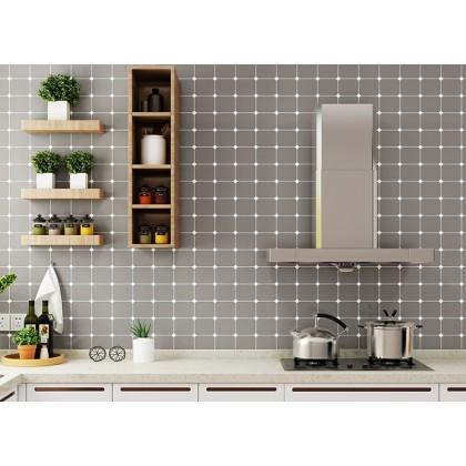 (Tiles) Grey Color Diamond Lattice Pattern Kitchen Tiles Aluminum Foil Paper Oil-Proof Furniture Renovation Waterproof Wallpaper Sticker